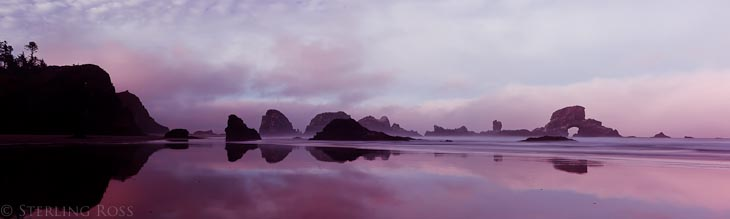 Reflections of a New Day - Panoramic Sunrise at Cannon Beach, Oregon