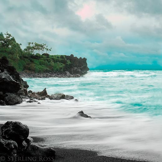 The Sun Sets on Midnight Sand - Fine Art Photography of Hana, Maui, Hawaii